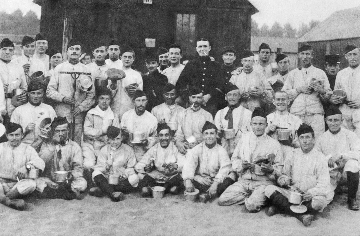Sept. 1, 1915 Belgian refugee soldiers in their camp at Hyde near Manchester.