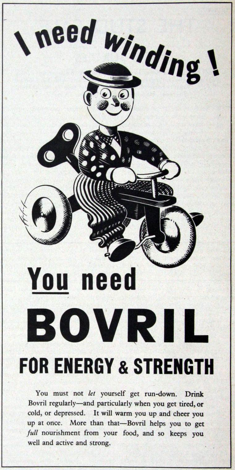 Bovril 1939 puppet on a bike
