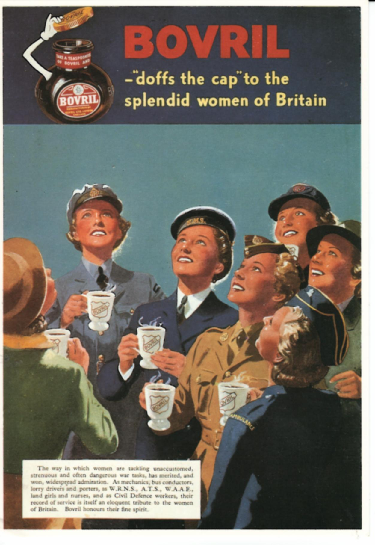 Bovril doffs the cap to the splendid women of Britain ww2