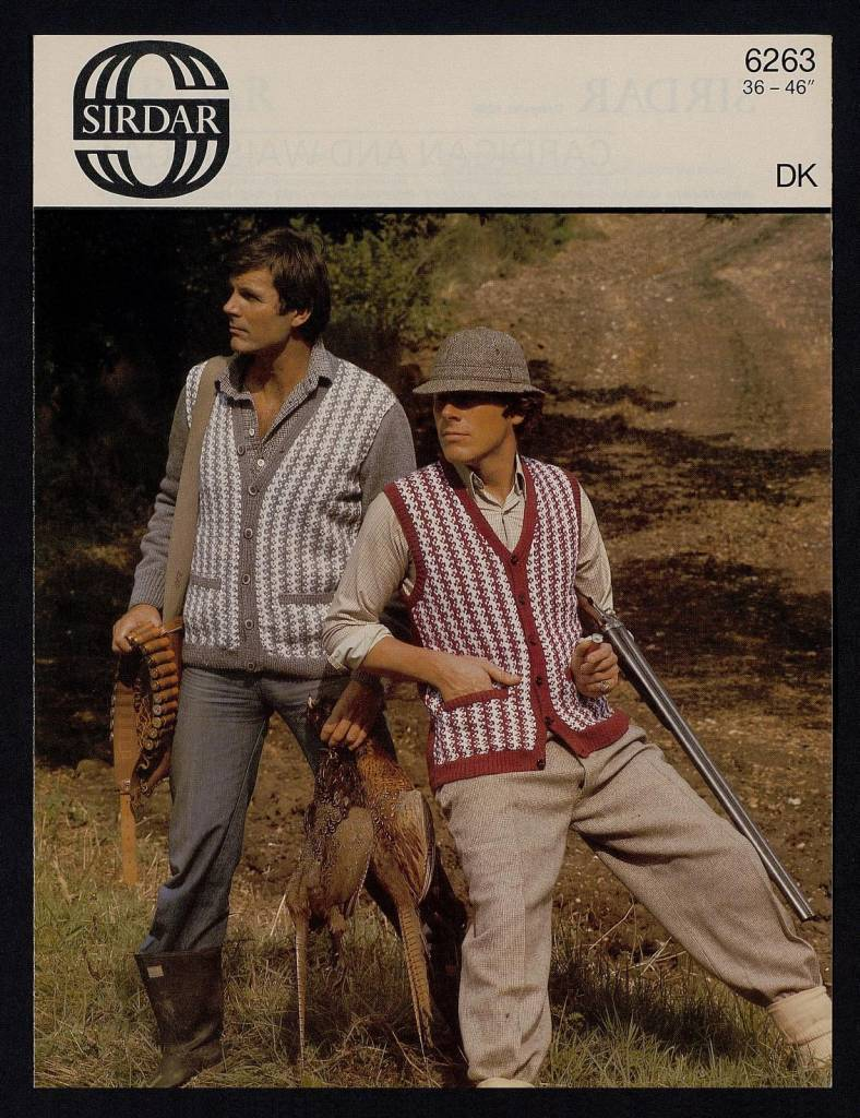 Cardigan and waistcoat - [in] Country Style DK, Majestic DK, Wash 'n' Wear Double Crepe, 36-46 inch by Sirdar Published 1980s
