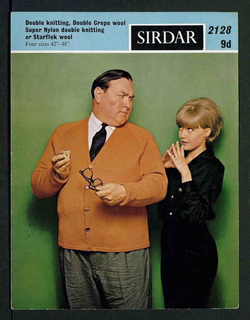 Classic Cardigan - [in] Double knitting, Double Crepe wool, Super Nylon double knitting, or Starflek wool, four sizes 42 inch - 48 inch by Sirdar Published 1960s