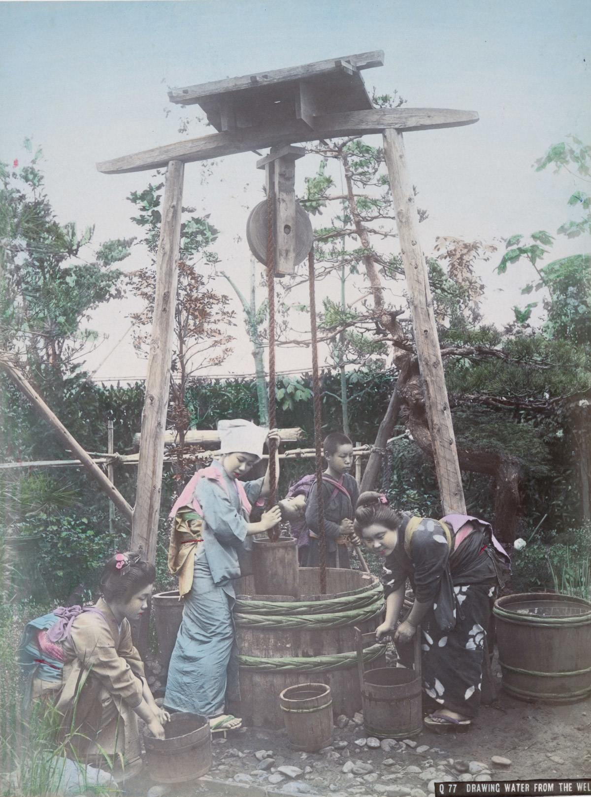 Drawing Water from the Well, Japan, 1890s