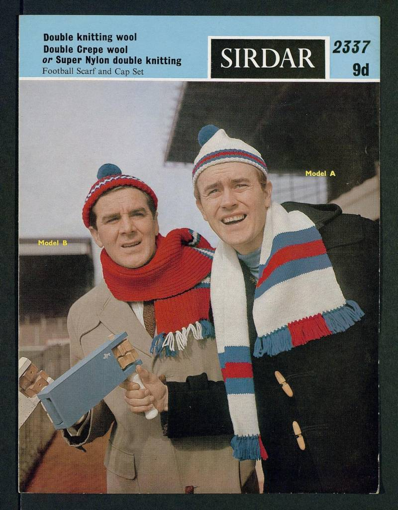 Football scarf and cap set - [in] Double knitting wool, Double Crepe wool, or Super Nylon double knitting by Sirdar Published 1960s