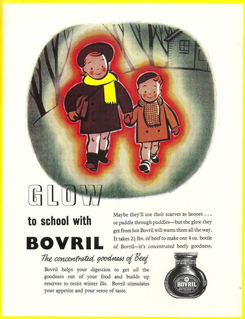 Glow to school with Bovril -advert issued by Bovril, 1951