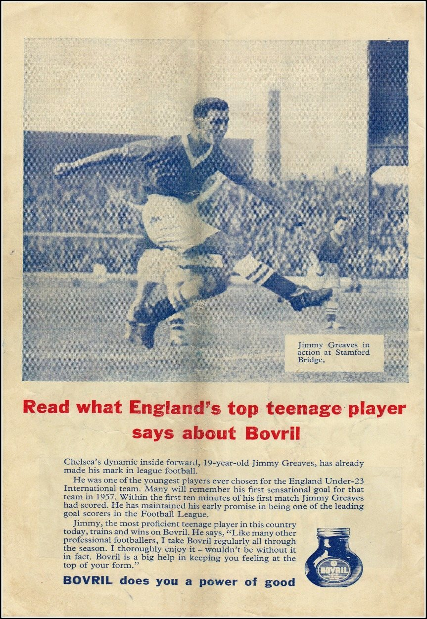 19 year old Jimmy Greaves advertising Bovril in 1959.