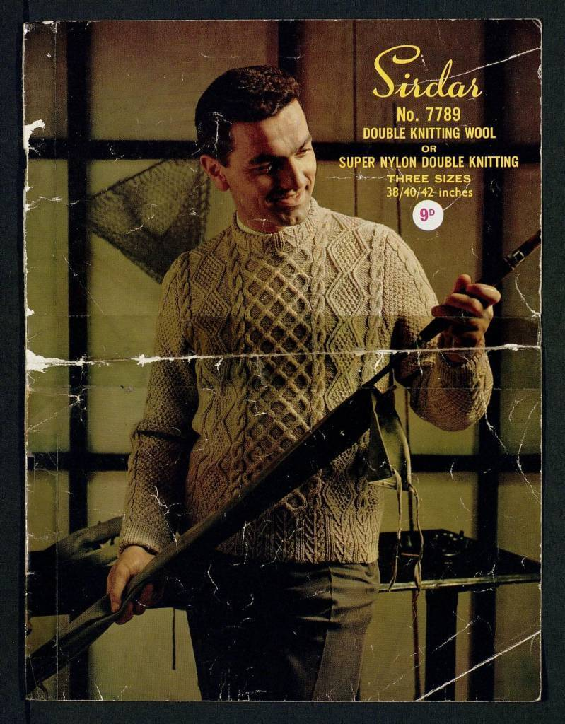 Man's Aran sweater (3 sizes) - with alternative lengths by Sirdar 1960s