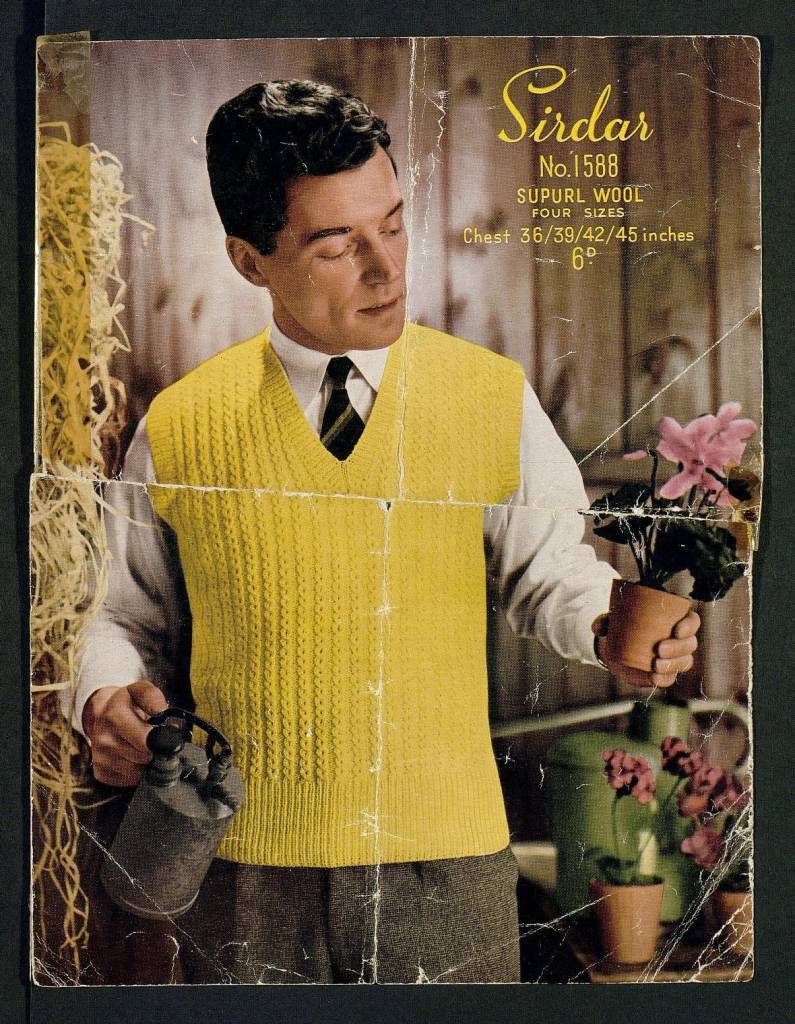 Man's waistcoat, in 8 sizes - in Hayfield Gaylon or Crepe D.K., Beaulon 4-ply, to fit 34 to 48 inch chest by Hayfield Published 1960s