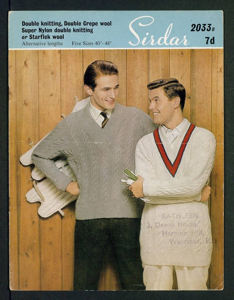 Man's sports sweater - [in] Double knitting, Double Crepe wool, Super Nylon double knitting, or Starflek wool, alternative lengths, five sizes 40 inch - 48 inch by Sirdar Published 1960s