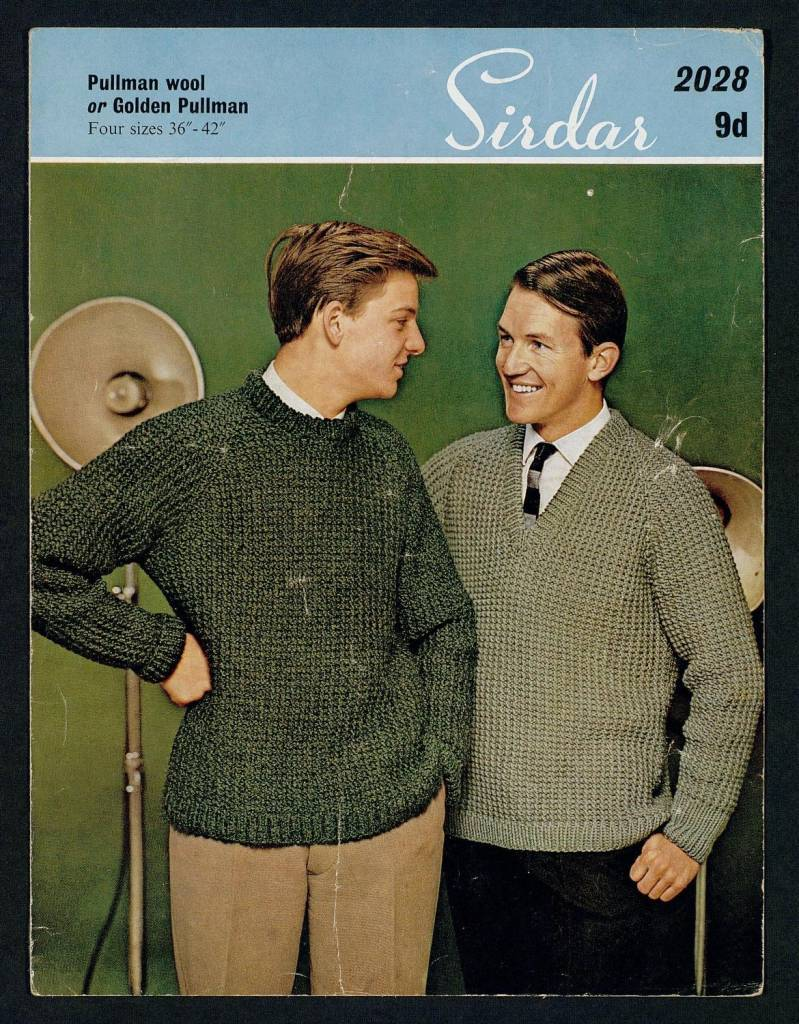 Man's sweater - 4 sizes, with alternative neckline by Sirdar Published 1960s