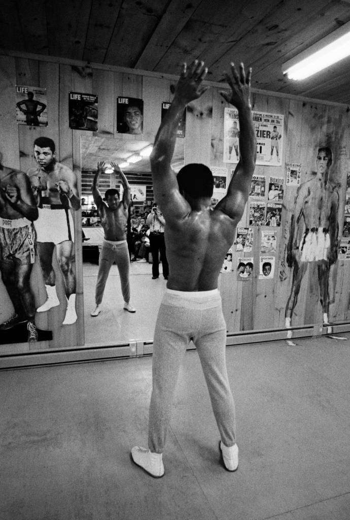Muhammad Ali in gym 1974 Joe Frazier