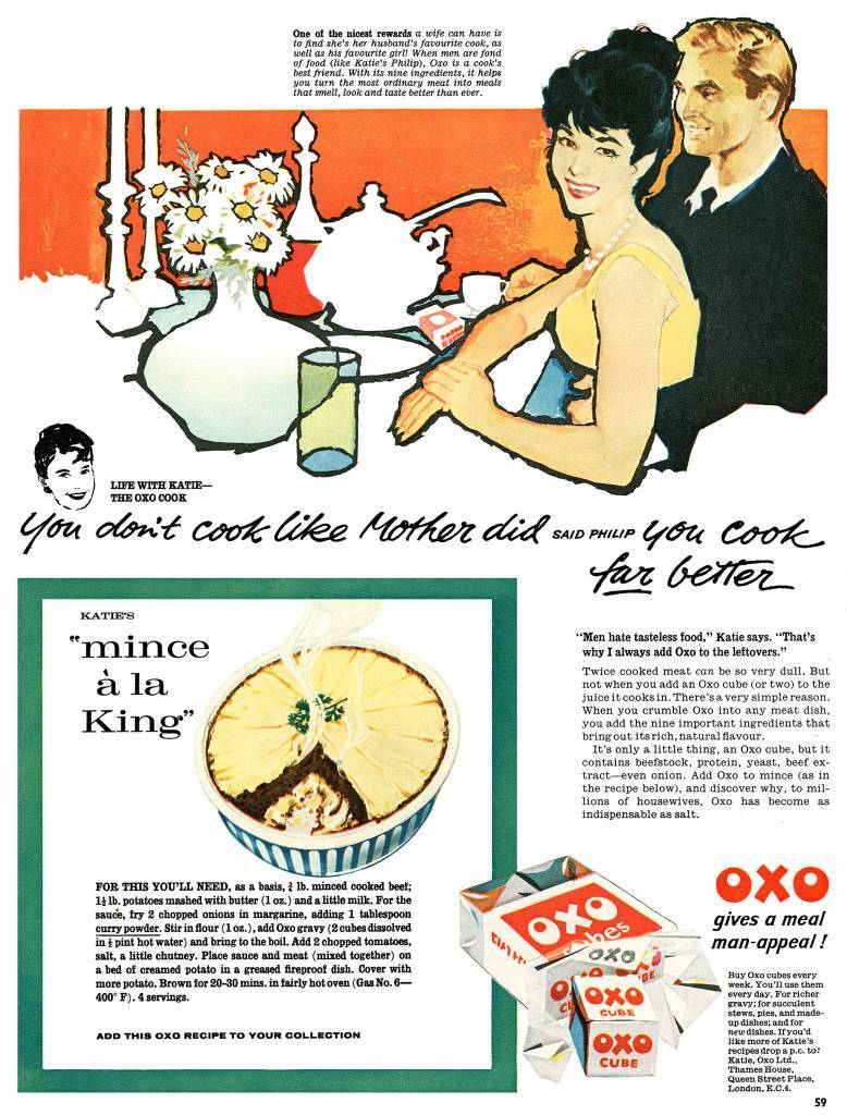 """""""You don't cook like Mother did..."""" Oxo gives a meal man-appeal! Ad from 1959"""