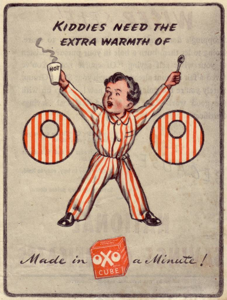 Kiddies need the extra warmth of OXO - ad from 1946 (Punch magazine).