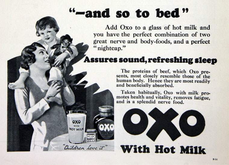 """A perfect nightcap"" Oxo with Hot Milk - 1930"