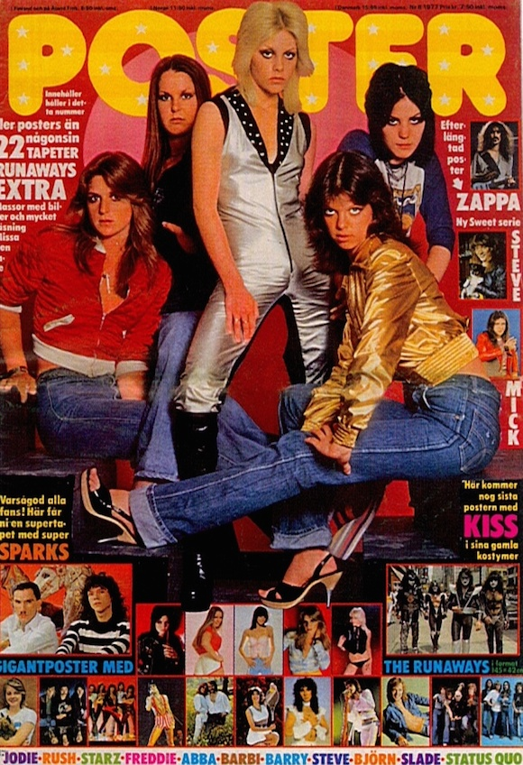 The Runaways on the cover of Poster No 8, 1977