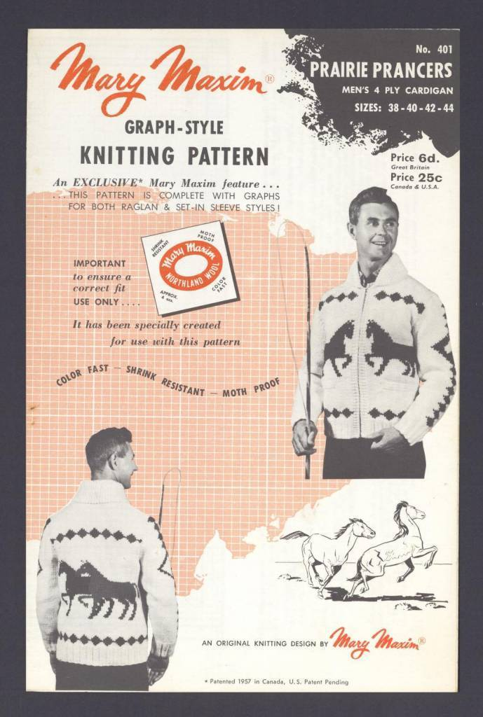 Prairie prancers, men's 4 ply cardigan sizes 38-40-42-44 - graph-style knitting pattern [for] Northland Wool by Mary Maxim Published 1957