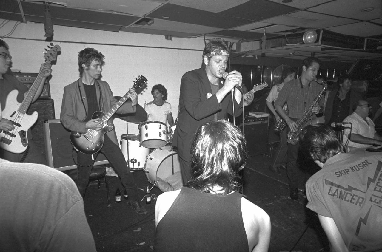 Top Jimmy & The Rhythm Pigs performing at the Cathay de Grande, Hollywood, 1981.