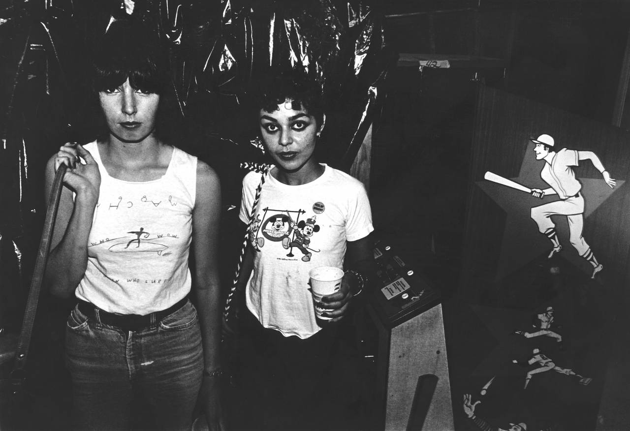 Punk girls at a Hollywood video arcade, 1981.