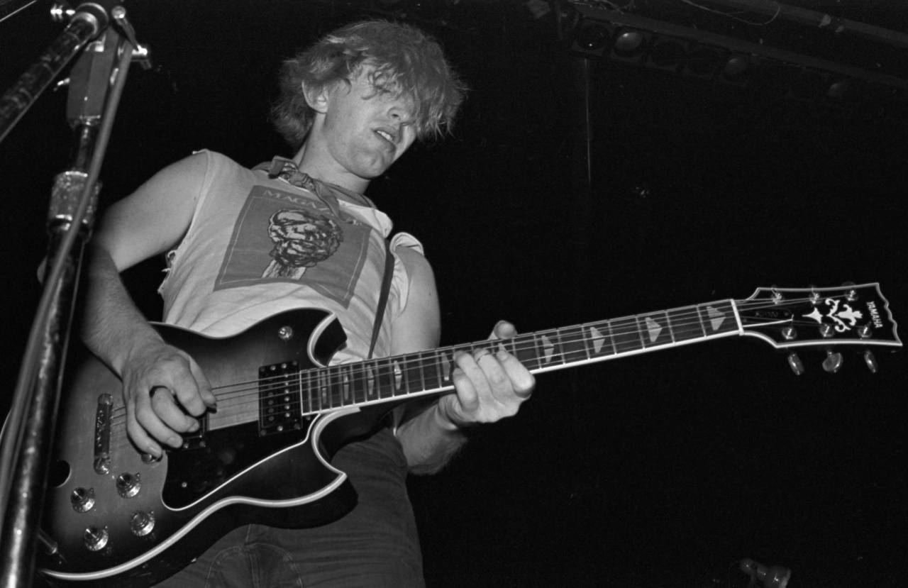 John McGeoch of the band Magazine performing at the Whiskey A Go Go, Sunset Strip, Hollywood. September 1, 1979.