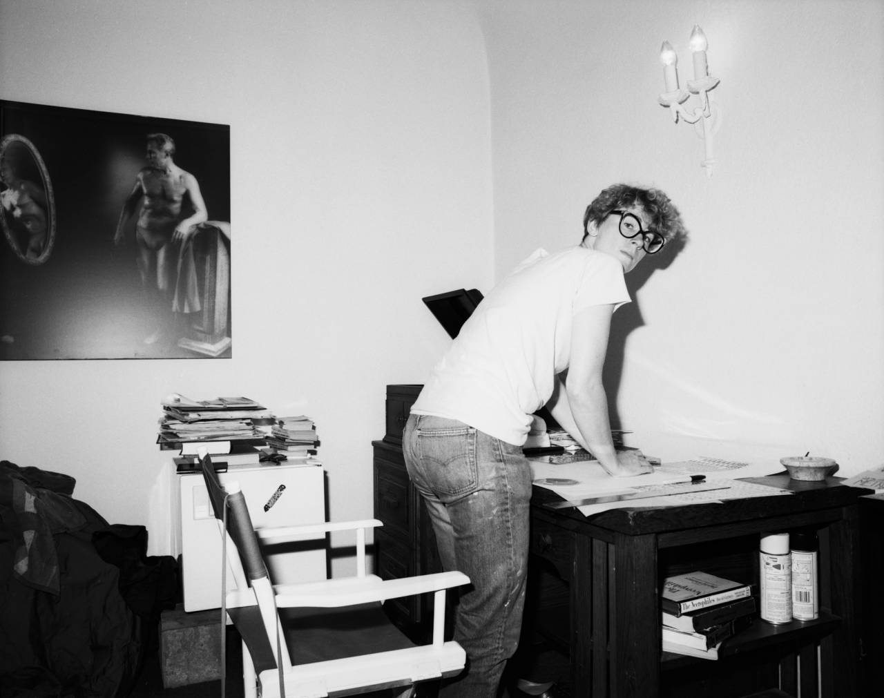 My then-girlfriend Nancy Barton working on an art project, Hollywood, 1982.