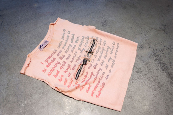 I Groaned With Pain t-shirt on pink with twin ball-and-chain chest zip inserts. © Malcolm McLaren Estate