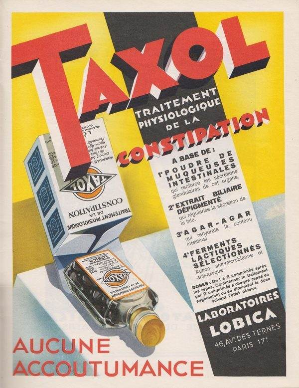 Taxol Pharmaceutical Ads 1930s France