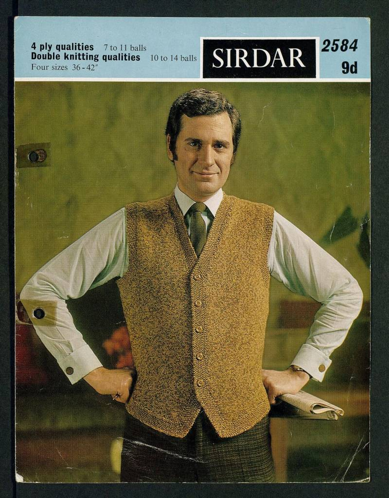 Waistcoat - [in] 4 ply qualities, 7 to 11 balls, double knitting qualities, 10 to 14 balls, four sizes, 36-42 inch by Sirdar Published 1969