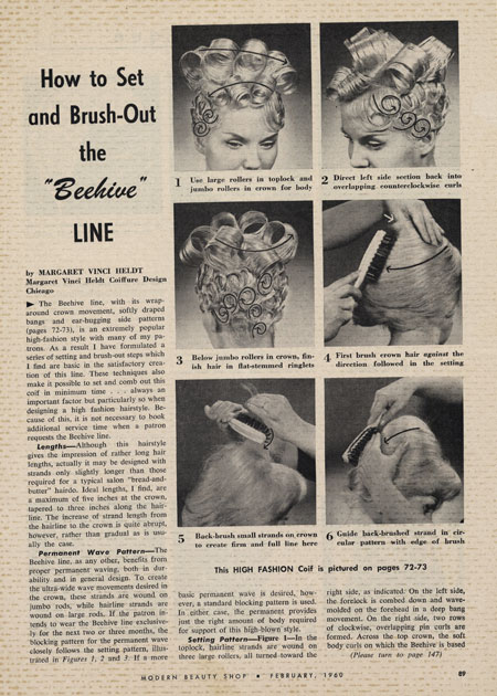 Modern Beauty Salon of February 1960, illustrating the technical construction of the beehive