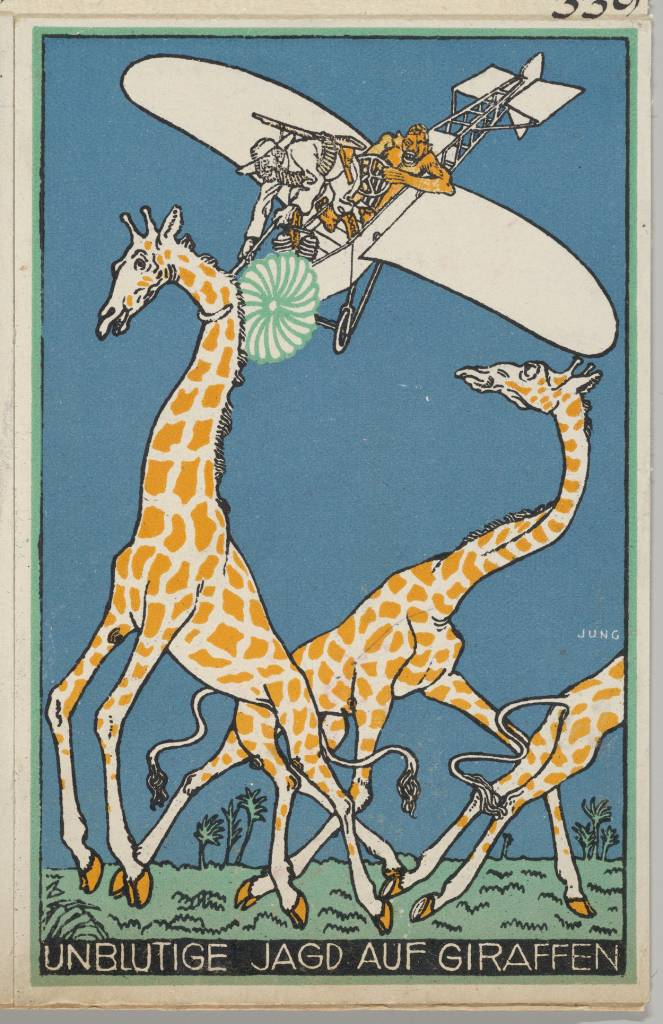 Moriz Jung (Austrian (born Czechoslovakia) Moravia 1885–1915 Manilowa (Carpathians)) Bloodless Giraffe Hunt (Unblutige Jagd auf Giraffen), 1911 Austrian, Color lithograph; Sheet: 5 1/2 × 3 9/16 in. (14 × 9 cm) The Metropolitan Museum of Art, New York, Museum Accession, transferred from the Library (WW.339) http://www.metmuseum.org/Collections/search-the-collections/648517