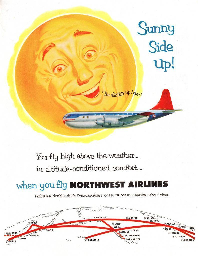 1953, vintage adverts, Northwest Airline, advertising, retro ads