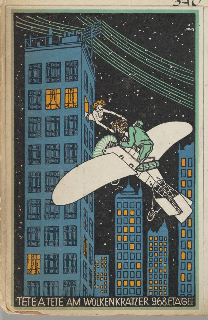 Moriz Jung (Austrian (born Czechoslovakia) Moravia 1885–1915 Manilowa (Carpathians)) Tête á Tête on the 968th Floor of a Skyscraper (Tête á Tête am Wolkenkratzer 968 Etage), 1911 Austrian, Color lithograph; The Metropolitan Museum of Art, New York, Museum Accession, transferred from the Library (WW.340) http://www.metmuseum.org/Collections/search-the-collections/648518