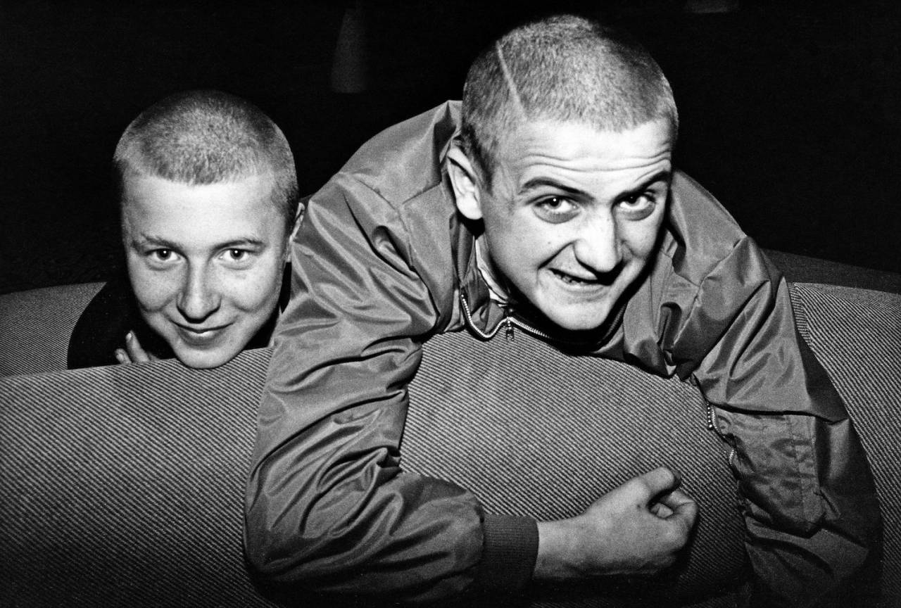 Two skinheads smiling, Bad Manners fans, Ska, 2 Tone, Friars, Aylesbury, UK 1980