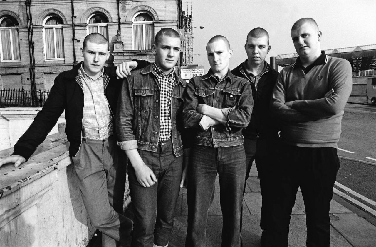 A group of Skinheads, Ska, 2 Tone fans, Bradford, UK 1980