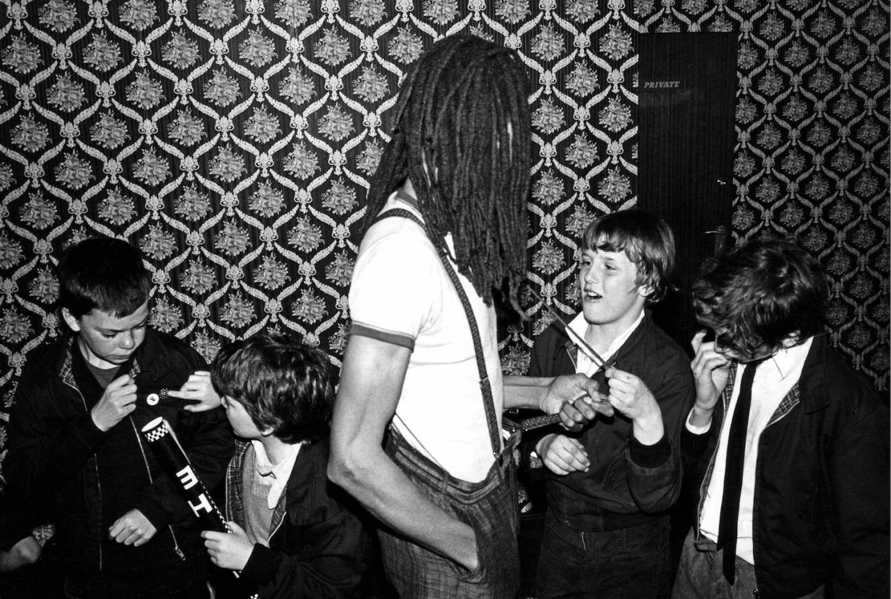 Charlie A, The Selecter, with young fans backstage, Ska, 2 Tone, UK 1980
