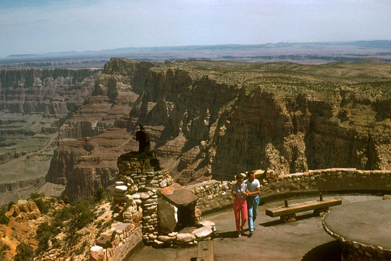 Fireplace on balcony of Desert View Watchtower, 1956