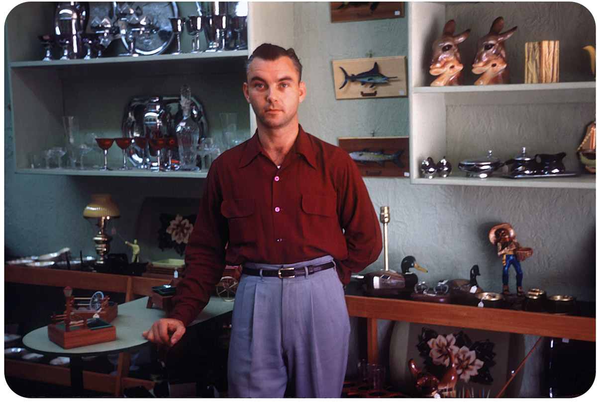 Ray in His Shop, Sayville, NY — June 1952 Flanagan's, 21 Main St., Sayville, NY.