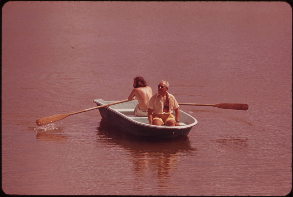 Boating on One of the Lakes in Century Village Retirement Community.