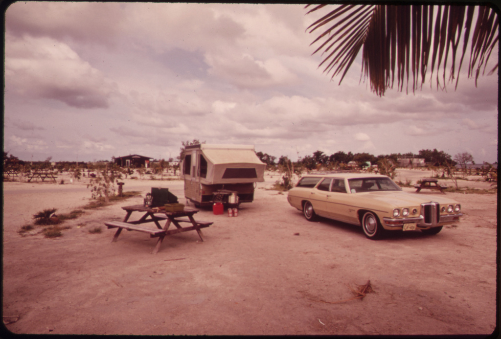 """Campsite at Ohio, Or """"Sunshine"""" Key. Extensive Dredging Filling and Defoliation Have Taken Place to Make Way for a """"Travel-Trailer"""" Camp."""