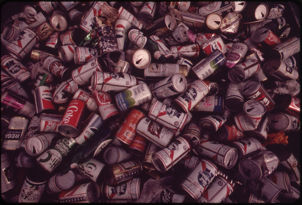 Dimensions of the Littering Problem Are Suggested by This Heap of Cold Drink Cans, Salvaged by Girl Scouts at Islamorada in the Central Florida Keys.