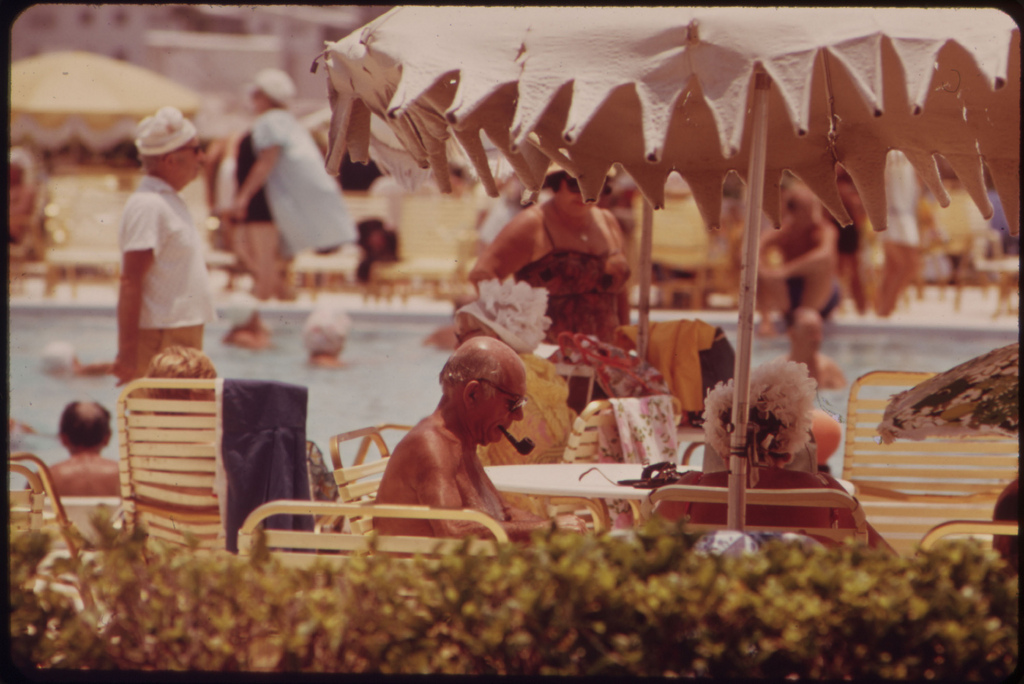Residents of Century Village, a New Retirement Community Sun Themselves at Poolside. The Entire Village of 7,838 Units (Individually-Owned Condominiums) Is Due for Completion in the Spring of 1974.