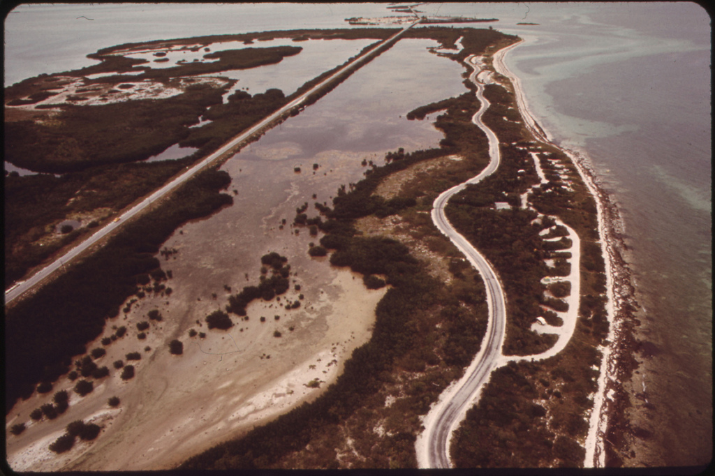 Aerial View of State Park on Long Key, Midway between Key Largo and Key West. View Shows a Segment of the Overseas Highway the Longest Over-Water Road in the World.