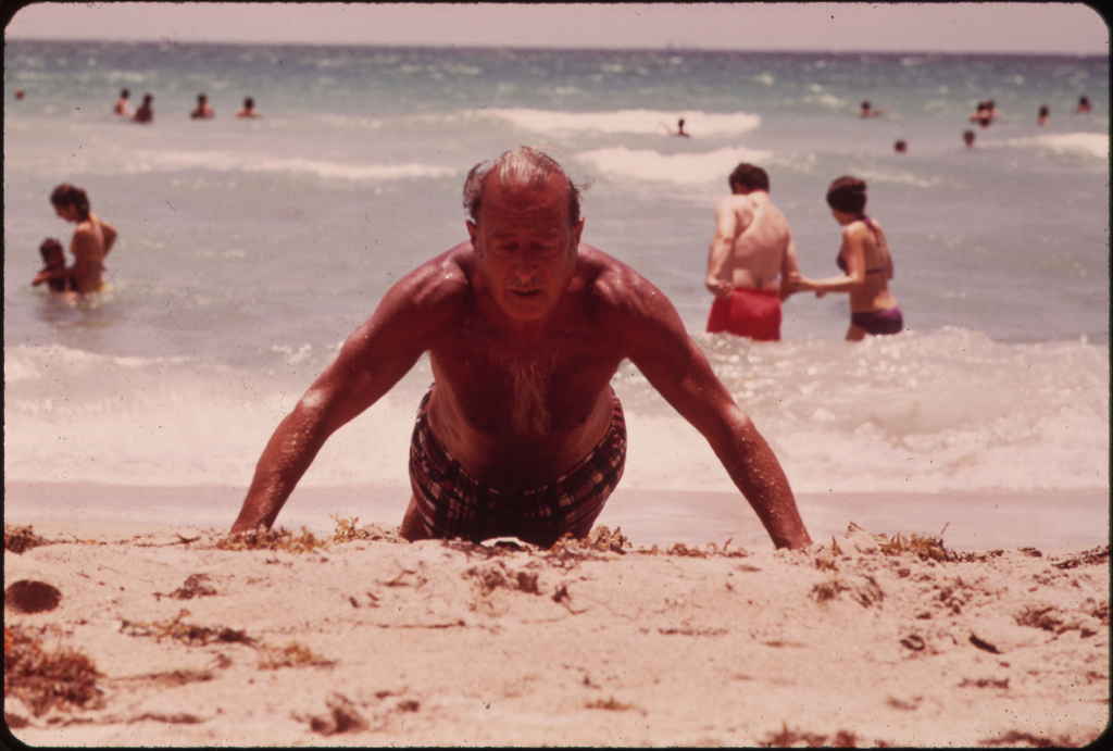 Lives of the Many Elderly Persons Who Have Chosen South Beach for Their Retirement Years Revolve Around the Beach. It Is the Longest Stretch of Public Beach in the Area.