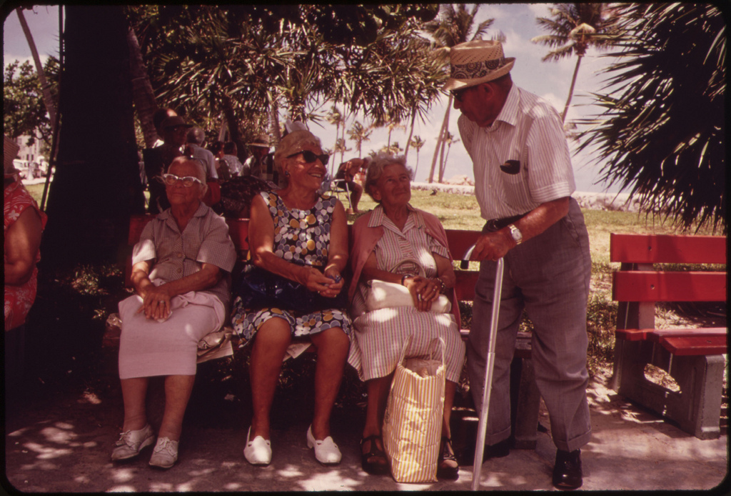 Park Benches of the South Beach Area of Miami Beach Are Favorite Meeting Places for Members of the Area's Large Retirement Community