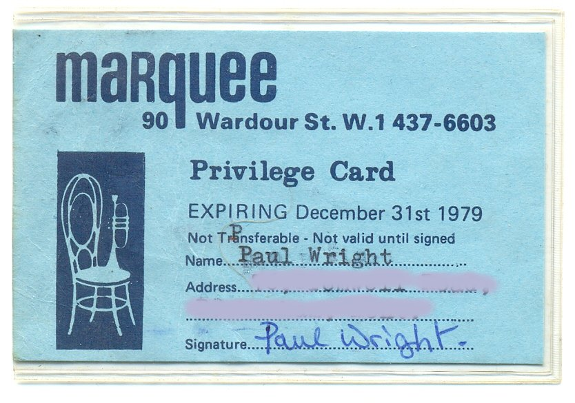 Marquee Club membership card 1979
