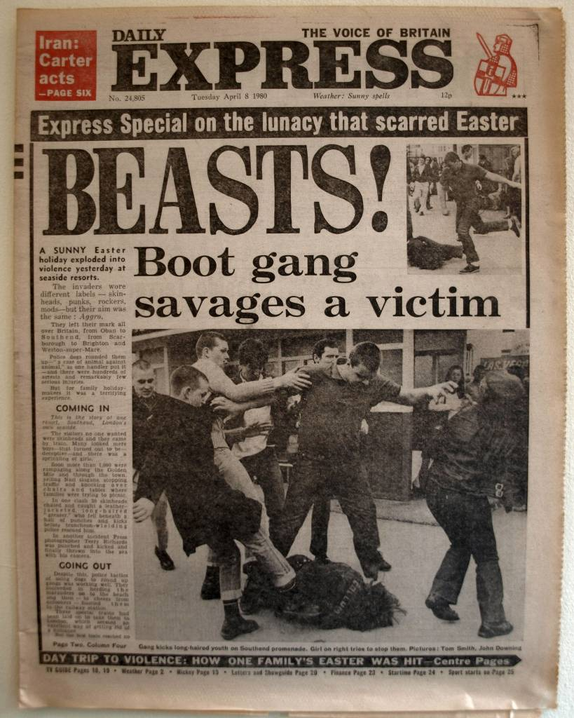 "Bank Holiday fighting headlines, April 1980 BEASTS! A SUNNY Easter holiday exploded into violence yesterday at seaside resorts. The invaders wore different labels – skinheads, punks, rockers, mods – but their aim was the same: Aggro. They left their mark all over Britain, from Oban to Southend, from Scarborough to Brighton and Weston-super-Mare. Police dogs rounded them up – ""a case of animal against animal"", as one handler put it – and there were hundreds of arrests and remarkably few serious injuries. But for family holidaymakers it was a terrifying experience. - Daily Express, Tuesday 08 April 1980"