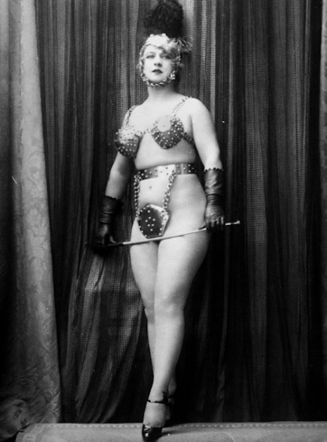 A metal bra and chastity belt by Yva Richard (modeled by Nativia Richard), 1920s.