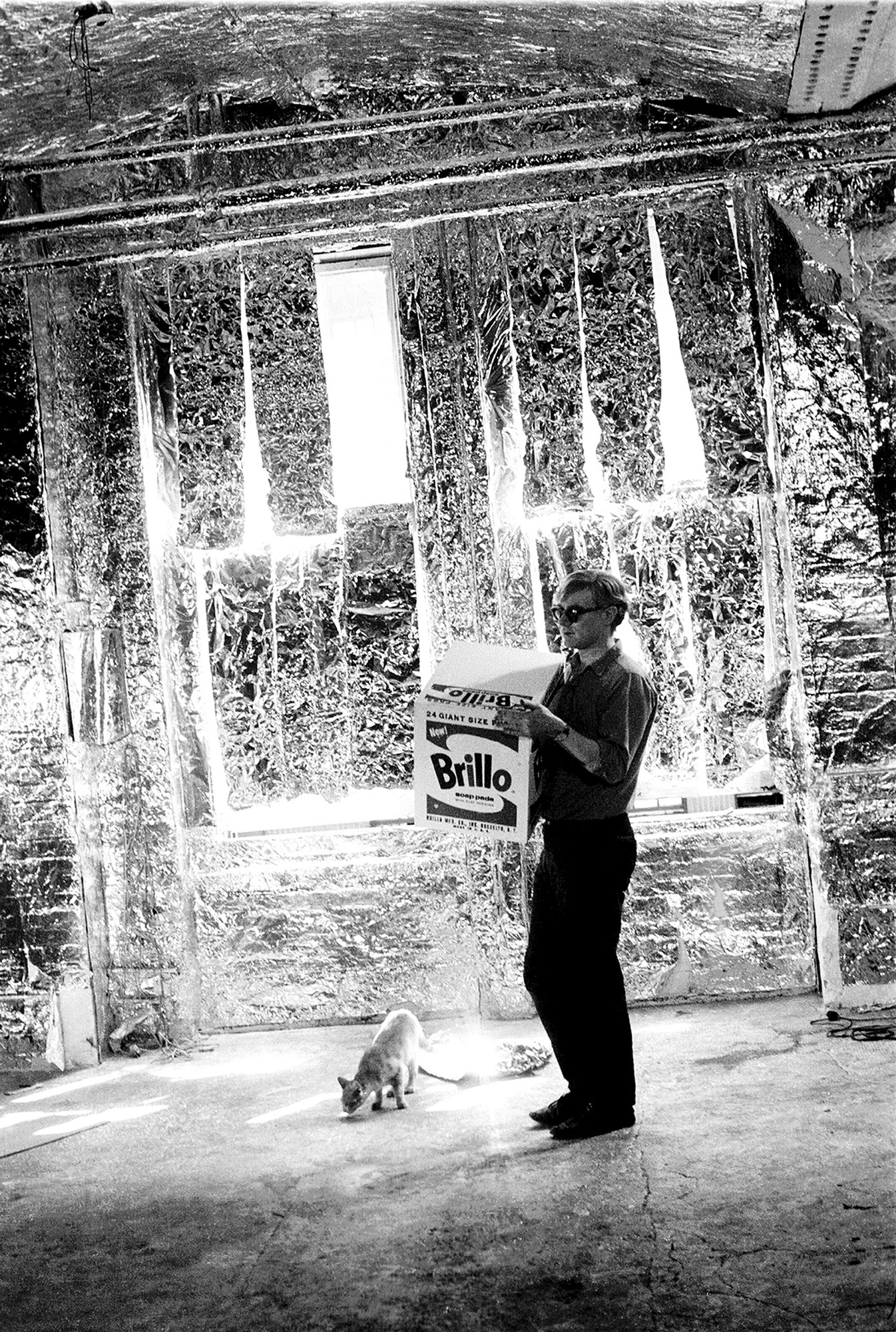 Andy Warhold Brillo silver Factory, photo by Billy Name 1964