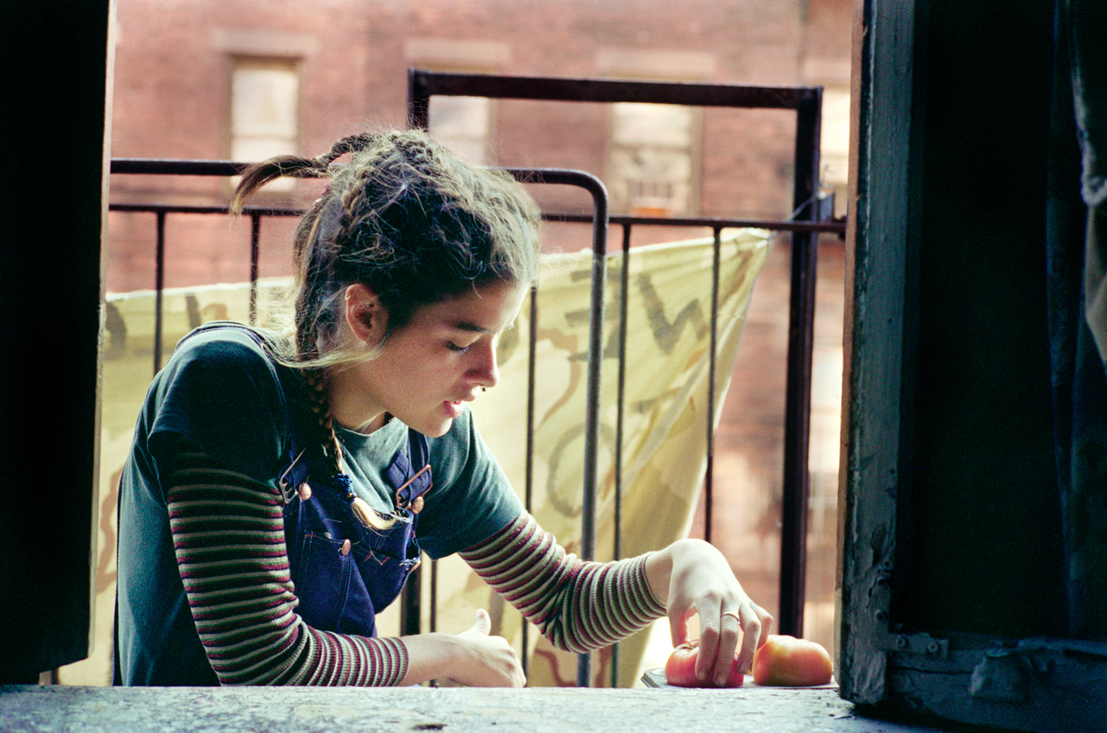 Meggin on Fire Escape, Fifth Street Squat, 1995