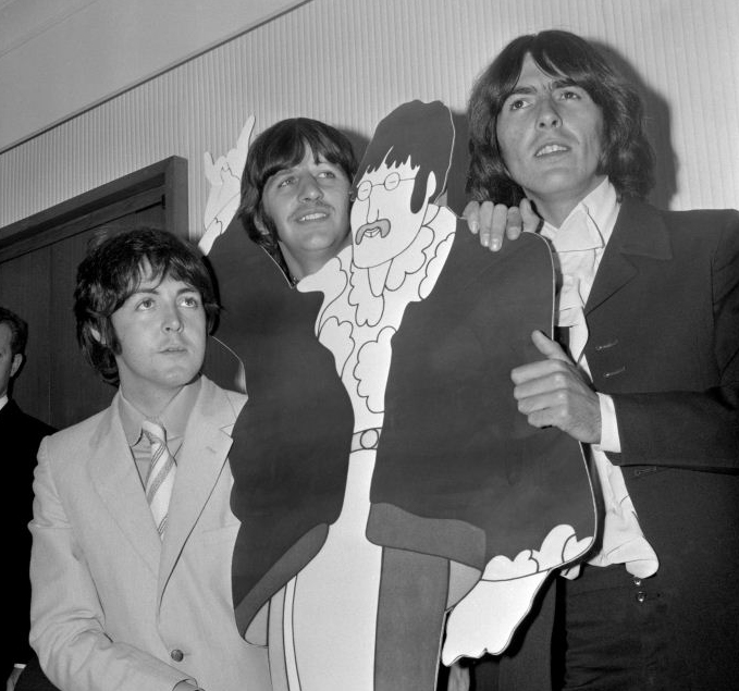 The Beatles at Bowater House for the press screening of Yellow Submarine in 1968. The building was chosen as it had one of the few air-conditioned cinemas in London.