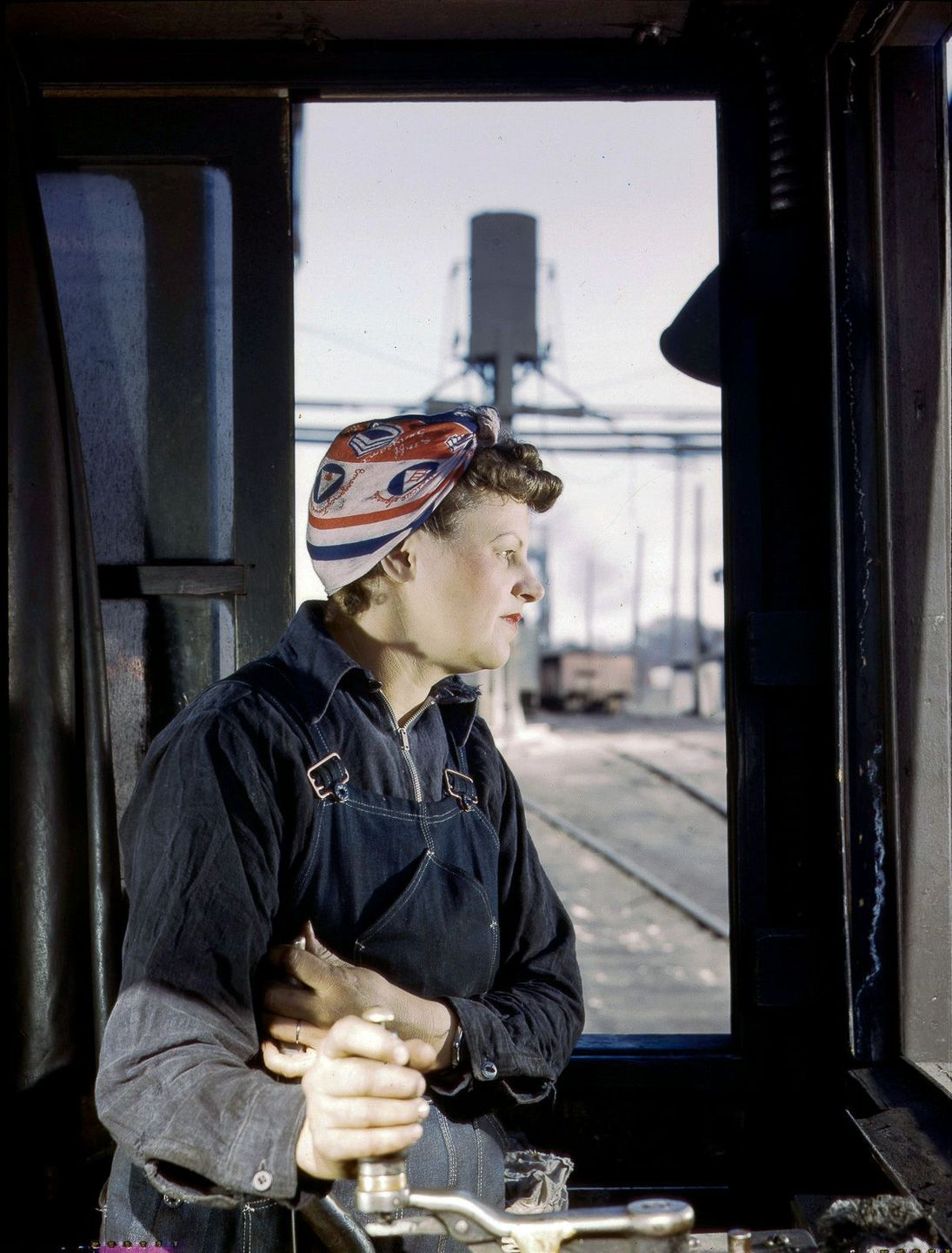 Cloe Weaver, mother of four, a roundhouse helper training to operate the turntable.