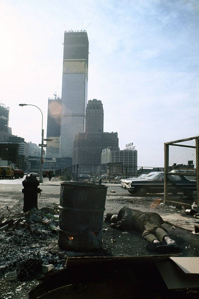 "1970 ""View of the World Trade Center under construction from Duane Street."" IMAGE: CAMILO JOSÉ VERGARA/LIBRARY OF CONGRESS"